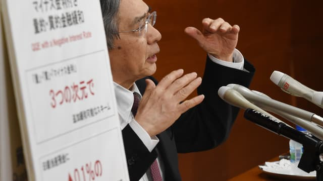Après la décision d'Haruhiko Kuroda, le gouverneur de la Banque du Japon, d'abaisser les taux de dépôt en négatif il y a plus d'une semaine, les taux longs poursuivent leur baisse... et suivent le même chemin.