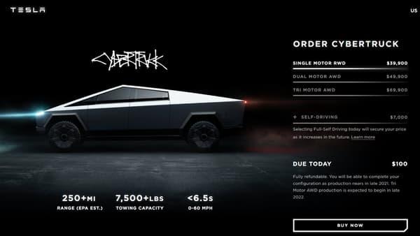 Le configurateur permet aussi de confirmer que le Cybertruck sera proposé avec l'Autopilot, le système de conduite semi-autonome de Tesla.