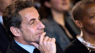 Nicolas Sarkozy lors du meeting de NKM à Paris, le 10 février 2014.