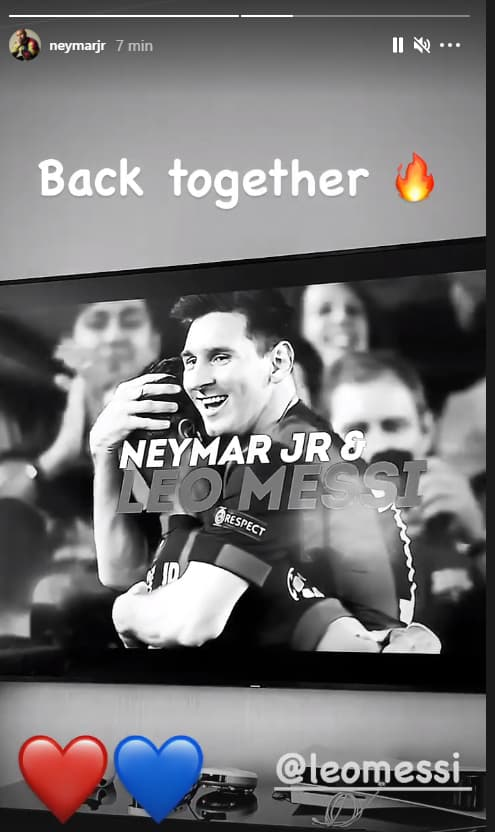 Neymar salue l'arrivée de Messi