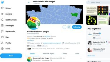 Copie d'écran compte Twitter Gendarmerie des Vosges.