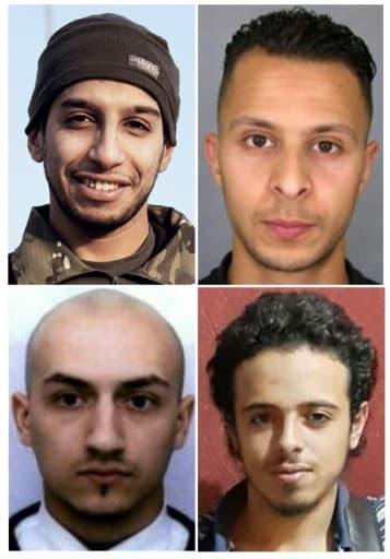 Montage de quatre hommes impliqués dans les attaques du 13 novembre 2015 à Paris: Abdelhamid Abaaoud, commanditaire présumé, Salah Abdeslam, qui serait le huitième homme des attentats, Bilal Hadfi et Samy Amimour, assaillants morts(Haut ...