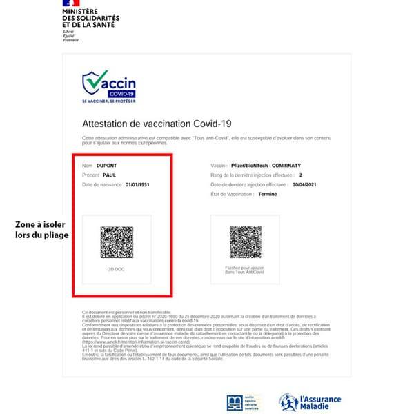 Exemple d'attestation de vaccination (pavé d'identification délimité par le carré rouge)