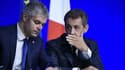 Laurent Wauquiez et Nicolas Sarkozy le 14 février 2016 à Paris.