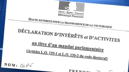 La déclaration d'intérêts de tous les parlementaires, comme ici Jean-François Copé, est consultable en ligne.