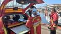 Des pompiers du Var au port de Hyères.