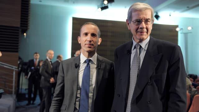 Le directeur général d'Areva, Philippe Knoche (à gauche) et le président Philippe Varin, ont deux semaines pour boucler les négociations avec le chinois CNNC.