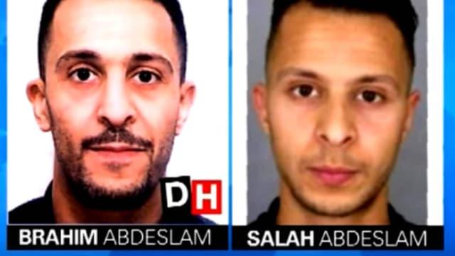 Les deux frères Abdeslam. A droite, la photo de Salah, diffusée sur l'avis de recherche de la police nationale.