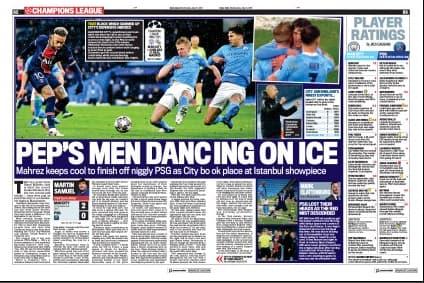 """""""Les hommes de Pep dansent sur la glace, """"image le Daily Mail"""