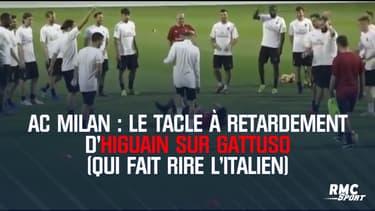 AC Milan : Le tacle à retardement d'Higuain sur Gattuso (qui fait rire l'Italien)