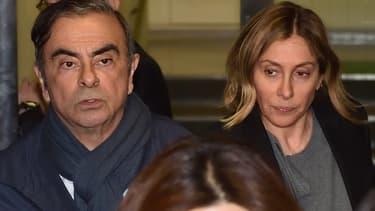 Carlos Ghosn et son épouse, Carole - Kazuhiro NOGI - AFP