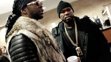Les rappeurs 50 Cent et Chainz, le 11 février 2016.