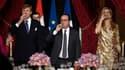 François Hollande lors d'une cérémonie au Palais de l'Elysée, en compagnie de la reine et du roi des Pays-Bas.