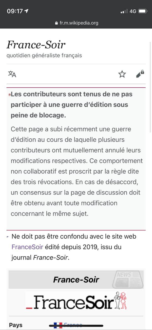 La page de France-Soir, précédée d'un avertissement.