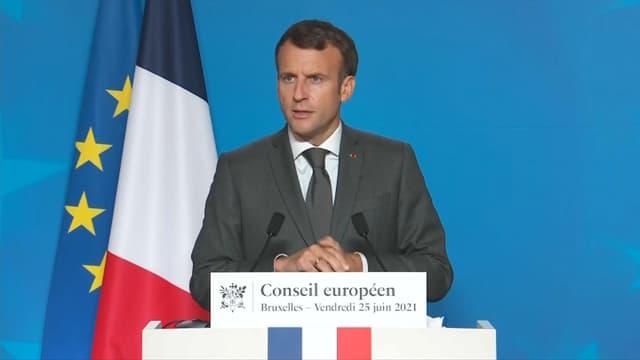 Le président de la République Emmanuel Macron à l'issue du Conseil européen à Bruxelles le vendredi 25 juin 2021.