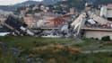 Le pont Morandi effondré, à Gênes.