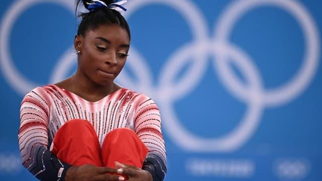 La gymnaste américaine Simone Biles, avant la finale de la poutre, le 3 août 2021 aux Jeux Olympiques de Tokyo 2020