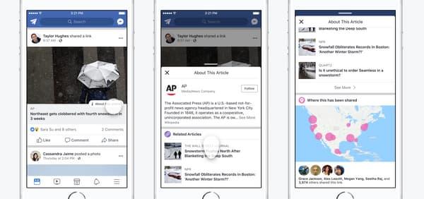Les nouveaux outils Facebook pour vérifier la source d'une information
