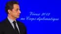 Nicolas Sarkozy, qui présentait ses voeux au corps diplomatique, a évoqué vendredi la possibilité d'un retrait anticipé du contingent français en Afghanistan après la mort de quatre soldats tués par un militaire afghan. /Photo prise le 20 janvier 2012/REU