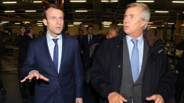 Emmanuel Macron et Vincent Bolloré, à Ergue-Gaberic le 15 janvier 2016