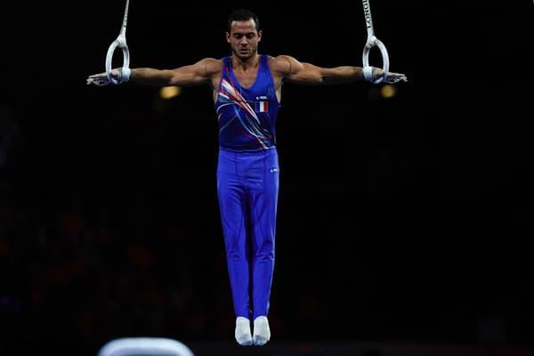 Samir Aït Saïd aux anneaux lors des Mondiaux 2019, où il a obtenu sa qualification pour Tokyo avec le bronze
