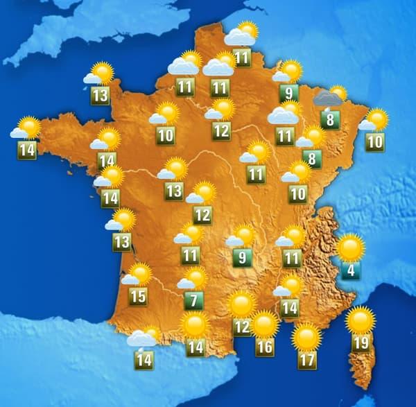 Les températures de ce mardi après-midi