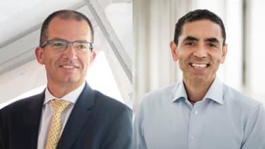 Stéphane Bancel (Pdg de Moderna) et Ugur Sahin (co-fondateur de BioNTech).