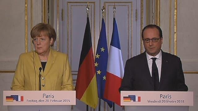 Angela Merkel et François Hollande, lors d'une conférence de presse commune à Paris, le 20 février 2015.