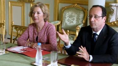 Geneviève Fioraso et François Hollande à l'Elysée le 25 juin.