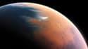Vue d'artiste de Mars et de son probable océan, il y a quatre milliards d'années.