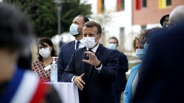 Le président Emmanuel Macron le 22 septembre 2020 à Bracieux (Loir-et-Cher)