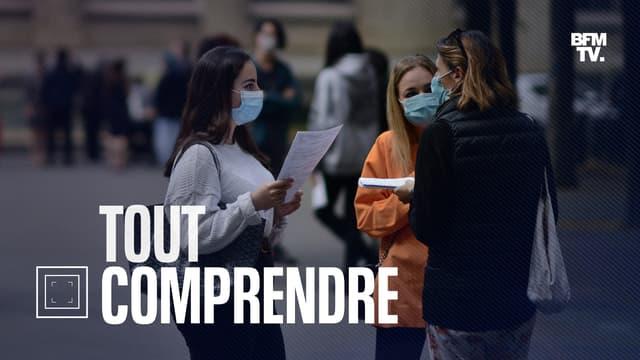 Des élèves masqués dans la cour du lycée La Fontaine à Paris, le 7 juillet 2020, jour des résultats du bac (photo d'illustration).