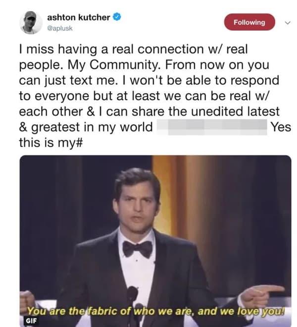 Le tweet désormais supprimé d'Ashton Kutcher