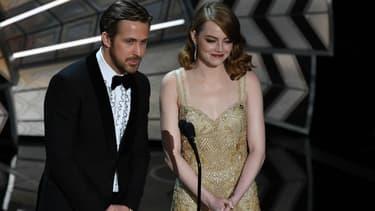 Ryan Gosling et Emma Stone lors des Oscars 2017