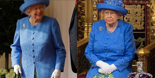 La reine le 21 juin 2017 (à droite) et le 13 juillet 2018 (à gauche).