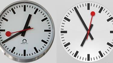 A gauche, l'original, à droite, l'horloge iPad.