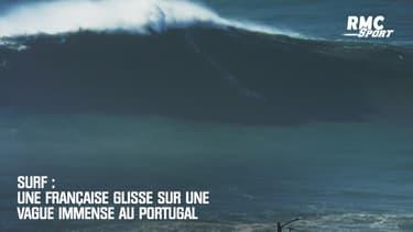Surf : Une Française glisse sur une vague immense au Portugal