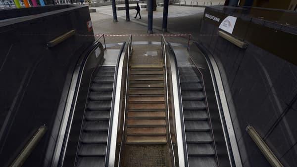 Une station de métro, à Bruxelles, le 21 novembre.