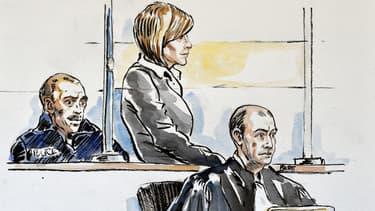 Croquis d'audience d'Audrey Chabot, soupçonnée d'une récidive d'infanticide et dont le procès s'est ouvert à la cour d'Assises de l'Ain.