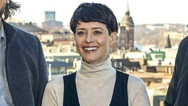Claire Foy avec le coiffure de Lisbeth Salander
