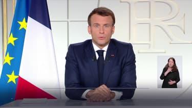 Emmanuel Macron lors de son allocution du 31 mars