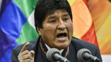 Le président bolivien s'exprime lors d'une conférence de presse à La Paz, le 24 octobre 2019