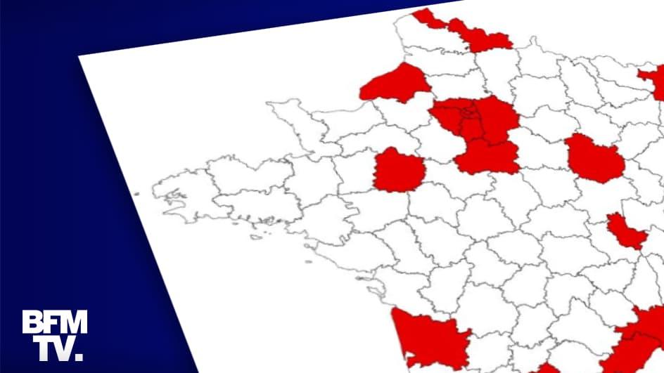 """CARTE. Coronavirus: 13 nouveaux départements classés en """"zone de circulation active"""""""