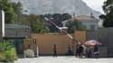 """Un portail de la """"Green Zone"""", où était située l'ambassade de France à Kaboul, jusqu'à son déplacement à l'aéroport de la capitale afghane, dimanche 15 août 2021"""