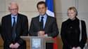 Nicolas Sarkozy entouré par les parents de Florence Cassez, Charlotte et Bernard Cassez.
