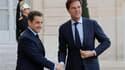 """Après s'être entretenu à l'Elysée avec le Premier ministre des Pays-Bas, Mark Rutte, Nicolas Sarkozy a jugé """"intéressante"""" la proposition néerlandaise de commissaire européen au budget ayant pour mission de faire respecter les engagements des pays de la z"""