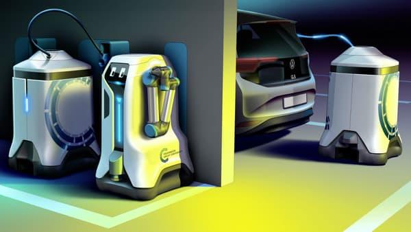 Pendant que des wagons se rechargent, un robot assure le ravitaillement d'une voiture électrique.