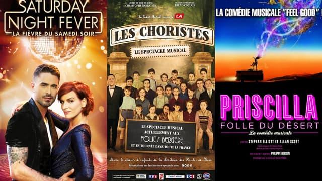 """Les spectacles """"Saturday Night Fever"""", """"Les Choristes"""" et """"Priscilla, Folle du Désert"""" sont actuellement à l'affiche à Paris avant de partir en tournée."""