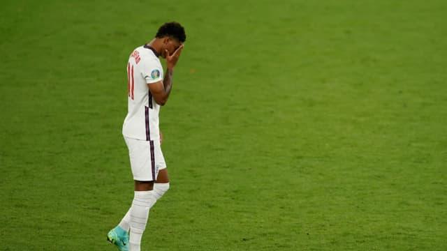 L'attaquant anglais Marcus Rashford après son tir au but manqué en finale de l'Euro contre l'Italie, le 11 juillet 2021 à Wembley