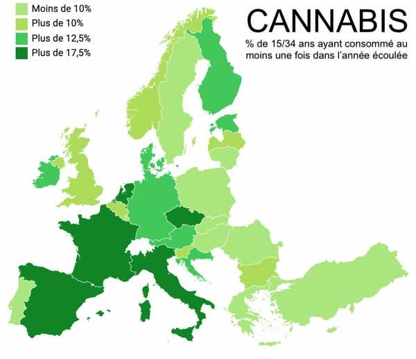 La consommation de drogue par pays en Europe.